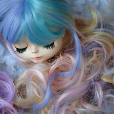 "【Tii】8-10"" NEO 12"" Blythe Hair doll wig Macaron fantasy curly long not scalp"