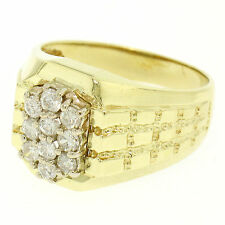 Men's 14K Solid Yellow Gold .75ctw Round Diamond Cluster Wide Textured Band Ring