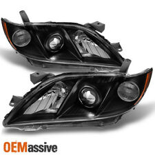 Fits 2007-2009 Toyota Camry Black Bezel Projector Headlights Lamps Pair 07 08 09
