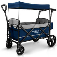 Wonderfold Wagon X2 Push Pull 2 Passenger Folding Stroller Navy NEW