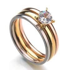 24 Sets 3 IN 1Women Zirconia Crystal rings Wedding Promise Stainless steel Ring