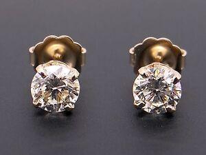 EGL Certified 14k Yellow Gold 1ct Round Cut Diamond Stud Earrings Push Backs