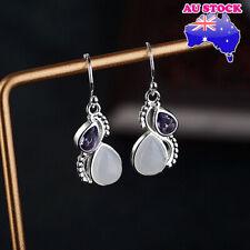 Wholesale 925 Silver Plated Moonstone Amethyst Tear Drop Dangle Hook Earrings