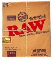 Raw Classic King Size Supreme 24pk Natural Unrefined Hemp Rolling Papers New!