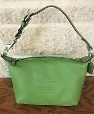 COACH GREEN LEATHER SMALL TOP HANDLE POUCH MINI HANDBAG BAG PURSE SATCHEL TOTE