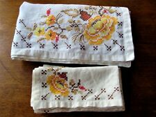 Vintage Tablecloth and Napkins Floral Cross Stitch