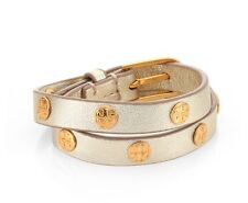 Tory Burch Double Wrap Logo Gold Leather Stud Bracelet with buckle NWT
