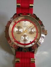 Men's Gold Finish Techno Pave Red Silicon Band Fashion Wrist Watch