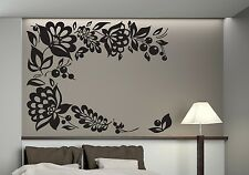 Wall Sticker Floral Ornament Berry Bunch Openwork Leaves Vinyl Decal (n367)