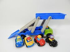 Fisher-Price Little People Wheelies Ramp 'n and Go Car Carrier Toy Tow Truck LOT
