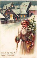 Christmas Postcard Children Wave at Brown Suited Santa Claus Snow Village~122819