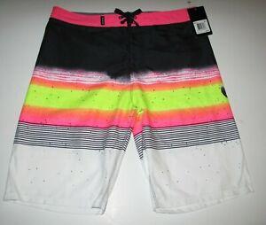 Hurley Boys 20/30 Black Pink White Neon Stripe Surf Board Shorts Beach Swim
