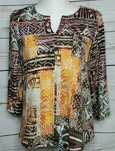 Chico's Women's Blouse Brown Multi  Cotton 3/4 Sleeve V-Neck Pockets Size 2