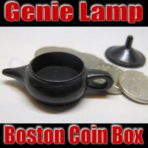 GENIE LAMP BOSTON BOX COIN MAGIC MONEY TRICK FLYING COINS CLOSE UP 10p NEW OKITO