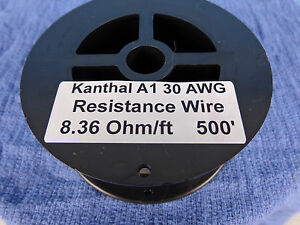 Kanthal A1 Resistance wire..30 awg..8.36 Ohm/ft..500+ ft. 30ga .FREE  SHIPPING