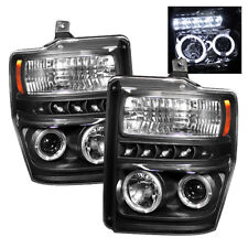 Ford 08-10 F250 F350 F450 F550 SuperDuty Black Halo LED Projector Headlights