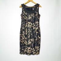 Frank Lyman Design Womens AU 10 Black Gold Abstract Layered Sheath Dress