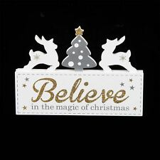 White Christmas Decoration Mantel Plaque - Believe