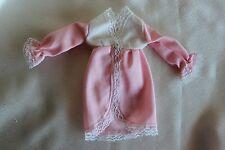 Barbie doll vintage long sleeve robe metal snap white lace
