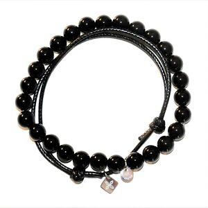 TATEOSSIAN Agate Beaded Bracelet & THOMPSON Black Cord NEW IN BOX Vegan RRP £99