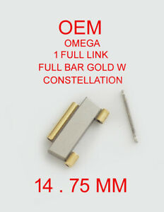 1 Full-Bar Gold Link 14.75mm for Women's Omega Constellation Watch Band with Pin