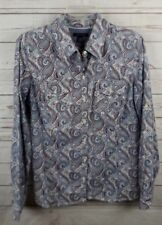 Tommy Hilfiger Shirt Top Large Blue Red Paisley Womens