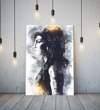AMY WINEHOUSE 1 -DEEP FRAMED CANVAS WALL SKETCH ART PICTURE PAPER PRINT- BLACK