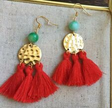 One Of A Kind Red Tassels Brass Disc Green Jade Bead Gold Plated Hooks Earrings