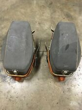 VINTAGE 1970s SHOEI JAPAN BLACK HARD CASE SADDLE BAGS MOUNTS BRACKET HONDA CB750