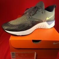 Nike Mens Odyssey React 2 Flyknit Shoes Armory Blue/Lime Black Size 11...