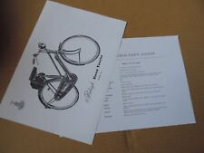 RALEIGH DAWN TOURIST BICYCLE LADIES SPECIFICATION 2 X INFO SHEETS