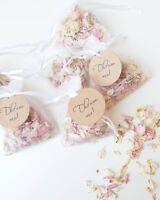 25x Pink mix Natural Petal Wedding Confetti Organza Bags - circle