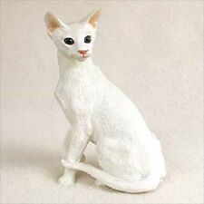 Oriental White Cat Figurine shorthair kitten Hand Painted Collectible Resin New
