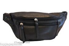 iLi Leather Travel Waist Pouch Fanny Pack Black 6237