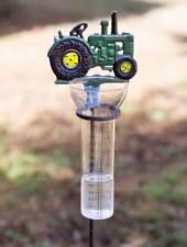 John Deere Green Tractor Rain Gauge Garden Stake
