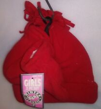 PARIS KIDS 2 PC SET 1 HAT 1 PR MITTENS 1 SZ TASSLE TOP RED SOLID A-21