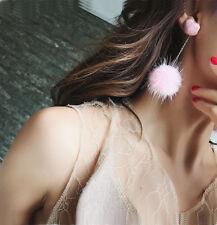 New Heart  Faux Fur Pom Ball Stud Clip Earring Elegant Lady Long Dangle Earring