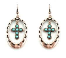 Cross Silver Toned Ovals With Turquoise Cross Earrings