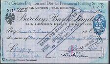 ASSEGNO BARCLAYS Bank Ltd 1945-Maggiore Brighton DISTRETTO permanente costruire SOC