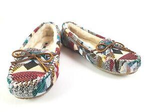 Minnetonka Womens Multicolor Moccasin Slipper Faux Fur Lined Size 10