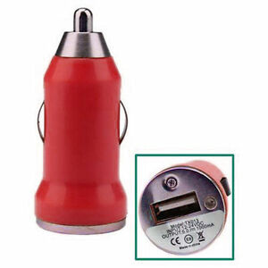 red Micro Mini Car Cigarette Lighter to USB Charger Adapter for iphone Generic