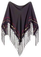 Altuzarra Target Embroidered Scarf Black Chiffon Bohemian style Fringe Boho Chic