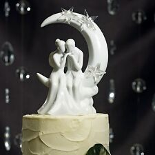 """Written in the Stars"" Bride Groom Sitting on Moon Wedding Cake Topper Couple"