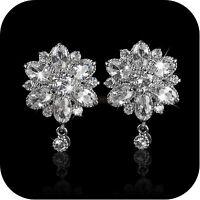 18k white gold gp made with SWAROVSKI crystal lotus flower stud luxury earrings