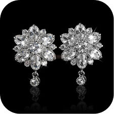 18k white gold gp made with SWAROVSKI crystal flower stud luxury earrings