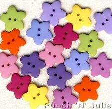 BRIGHT ROUNDED STARS - Star Pink Blue Green Yellow Dress It Up Craft Buttons