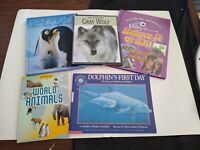 CHILDRENS EDUCATIONAL BOOK LOT (5) PENGUIUNS / DOLPHINS / ANIMALS / GRAY WOLF