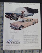 1957 HARRISON AIR CONDITIONING FISH GM OUTDOOR CAR AUTO MOTOR VINTAGE AD  CV79