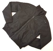 YD size 38 M Mens Solid Black Fully Lined Heavy Bomber Jacket Zip Pockets As New
