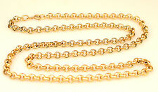 14K YELLOW GOLD 24.5 INCHES LONG 5 MM ROLO CHAIN NECKLACE FROM ITALY 13.3 GRAMS